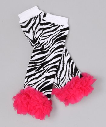 Watermelon Zebra Ruffle Leg Warmers