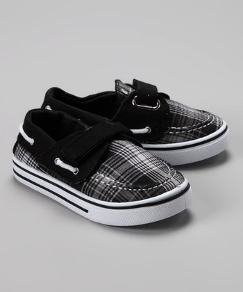 Black & White Plaid Boat Shoe