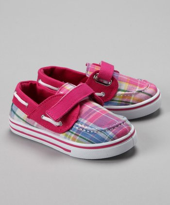 Fuchsia & Light Pink Plaid Boat Shoe