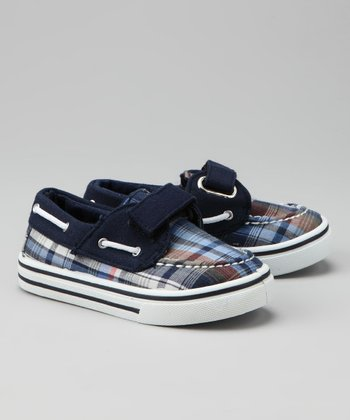 Red & Blue Plaid Boat Shoe