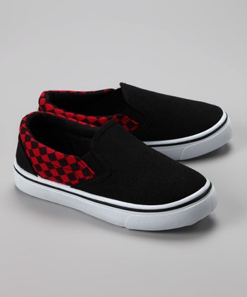 Twin Cities Shoe Co. Red & Black Checkerboard Slip-On Sneaker