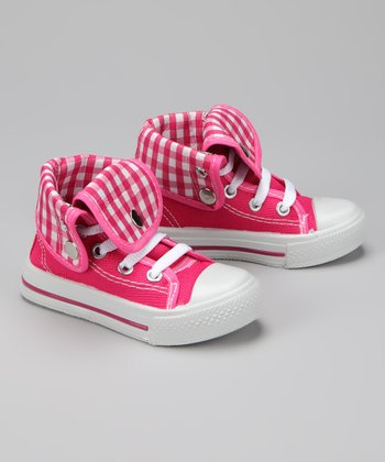 Twin Cities Shoe Co. Fuchsia & White Gingham Hi-Top Sneaker