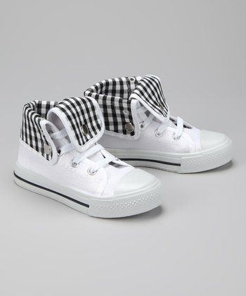 Twin Cities Shoe Co. White & Black Gingham Hi-Top Sneaker