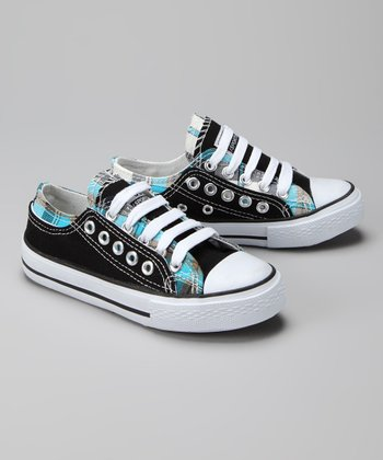 Twin Cities Shoe Co. Black & Light Blue Plaid Sneaker