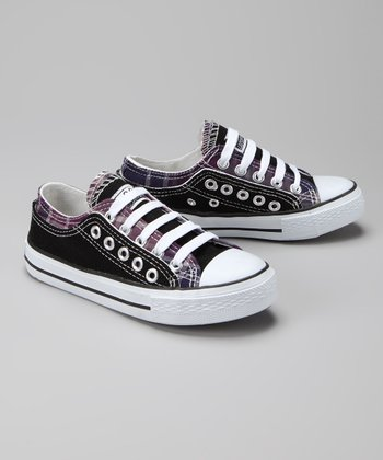 Twin Cities Shoe Co. Black & Purple Plaid Sneaker