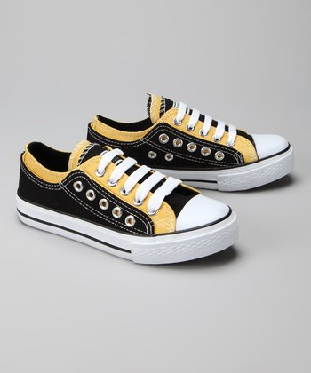 Twin Cities Shoe Co. Black & Yellow Double-Eyelet Sneaker