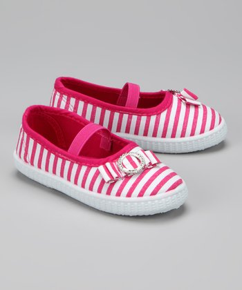 Twin Cities Shoe Co. Fuchsia & White Stripe Flat