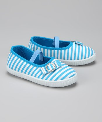 Twin Cities Shoe Co. Turquoise & White Stripe Flat