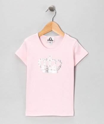 Light Pink Crown Tee - Girls