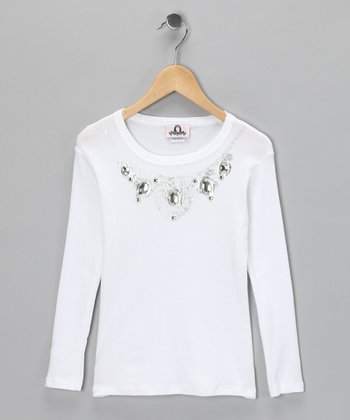 White Diamond Necklace Long-Sleeve Tee - Girls