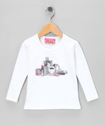 White Makeup Rhinestone Tee - Toddler & Girls