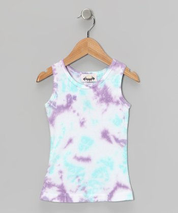 Aqua & Purple Tie-Dye Tank - Girls