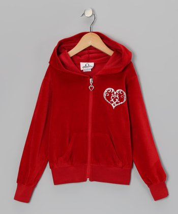 Red Heart Velour Zip-Up Hoodie - Infant, Toddler & Girls