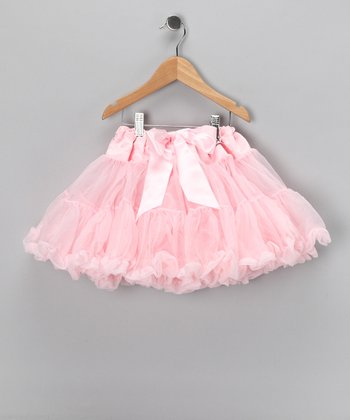 Pink Satin Yoke Pettiskirt - Girls