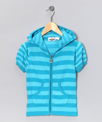 Turquoise Stripe Zip-Up Hoodie - Toddler & Girls