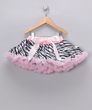 Light Pink Zebra Bow Pettiskirt - Infant, Toddler & Girls