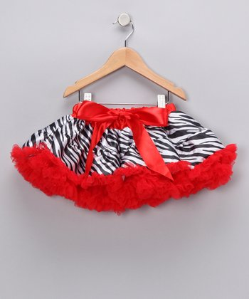 Red Zebra Bow Pettiskirt - Infant, Toddler & Girls