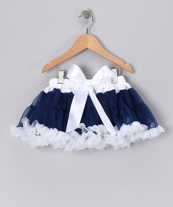 Navy & White Bow Pettiskirt - Infant, Toddler & Girls
