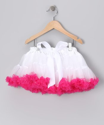 White & Hot Pink Bow Pettiskirt - Infant, Toddler & Girls