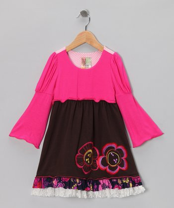Brown Fable Dual Flower Dress - Infant, Toddler & Girls