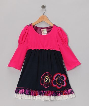 Navy Fable Dual Flower Dress - Infant, Toddler & Girls
