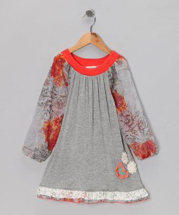 Gray All Mixed Up Floral Swing Dress - Toddler & Girls