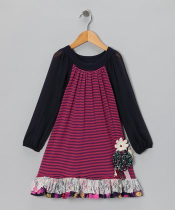 Navy & Pink Fable Swing Dress - Infant, Toddler & Girls
