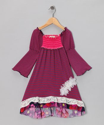 Pink Fable Flower Smocked Dress - Toddler & Girls