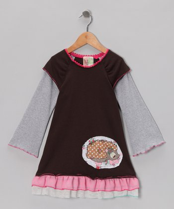 Brown Hedgehog Layered Dress - Infant, Toddler & Girls