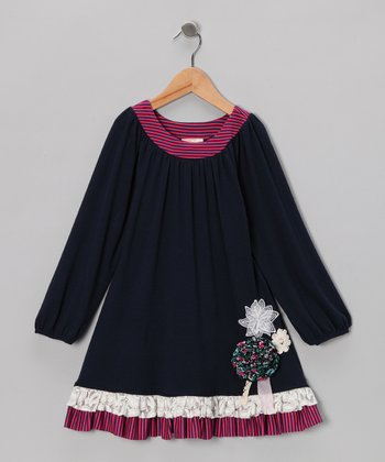 Navy Flower Swing Dress - Infant, Toddler & Girls
