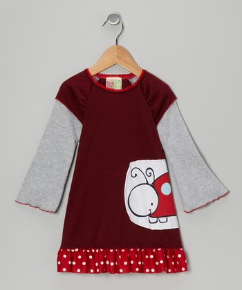 Burgundy Ladybug Layered Dress - Toddler & Girls