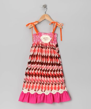Coral Shirred Dress - Girls