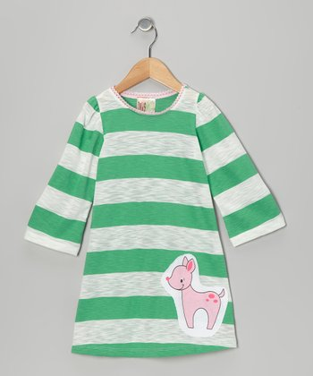 Green Stripe Deer Dress - Toddler & Girls