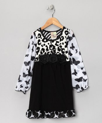 Black Leopard Butterfly Dress - Girls