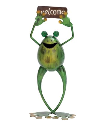 Green & Yellow 'Welcome' Happy Frog Sculpture