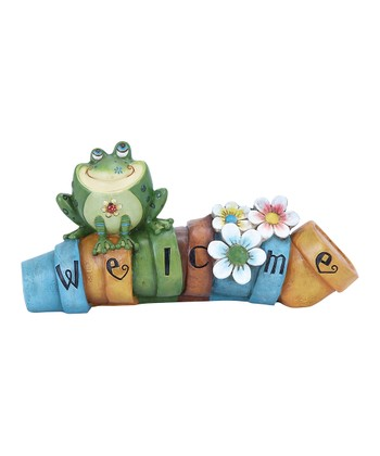 Frog 'Welcome' Flower Pot Garden Statue