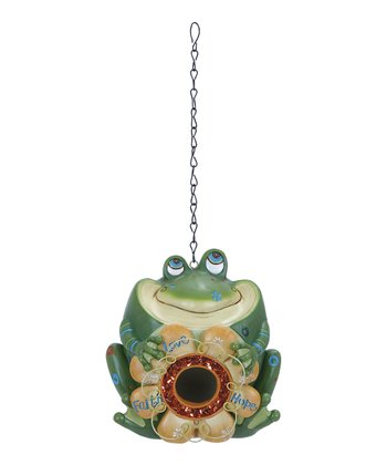 Frog 'Faith Hope Love' Flower Birdhouse
