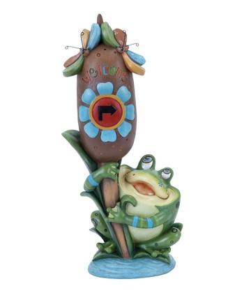 Frog & Cattail Garden Sculpture