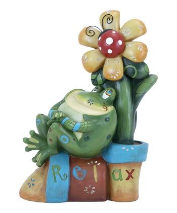 'Relax' Flower Frog Garden Statue