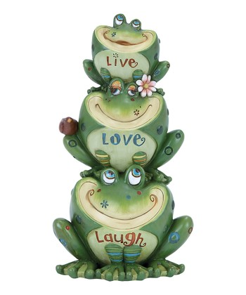 'Live Love Laugh' Frog Garden Statue