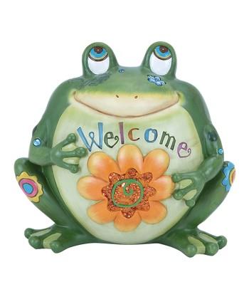 'Welcome' Frog Garden Statue