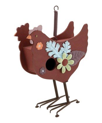 Brown & Blue Chicken Birdhouse