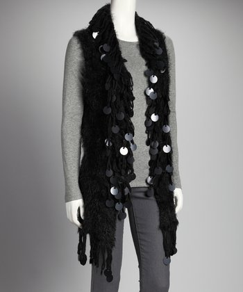 Black Fringe Sweater Vest