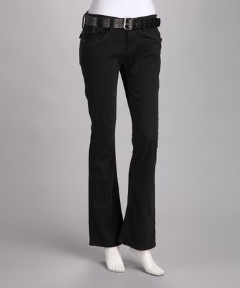 Black Kennedy Belted Bootcut Jeans