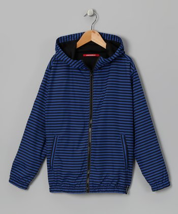 Blue Stripe Burke Zip-Up Hoodie