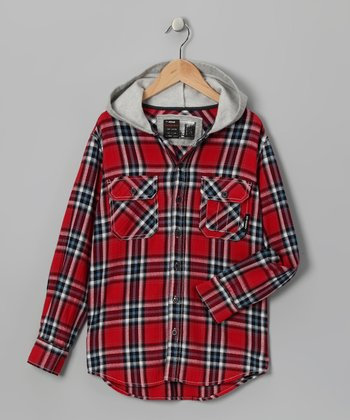 Red Plaid Flannel Milton Shirt Jacket - Boys