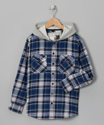 Blue Plaid Flannel Brenner Shirt Jacket - Boys