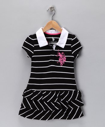 Black Stripe Polo Dress - Girls