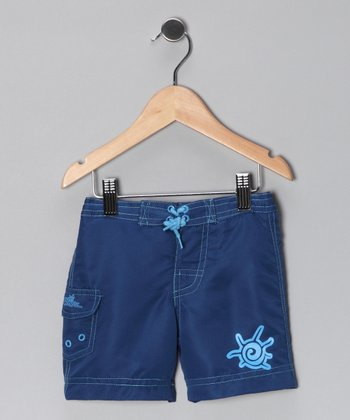 Navy Spiral Boardshorts - Toddler & Boys