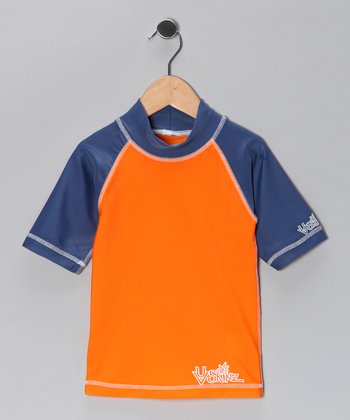 Orange & Navy Rashguard - Infant, Toddler & Boys